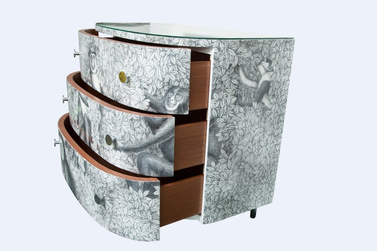 Lacquered Fornasetti Curved Chest of Drawers Scimmie For Sale