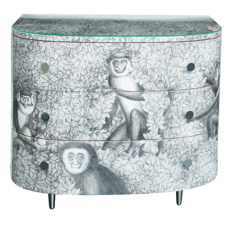 Fornasetti Curved Chest of Drawers Scimmie For Sale