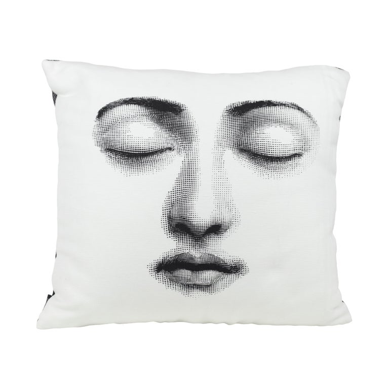 The Fornasetti cushions will add to each room an unexpected detail thanks to the most iconic Italian atelier designs.   The decoration features two variations from the famous Fornasetti series Tema e Variazioni, inspired by the face of the
