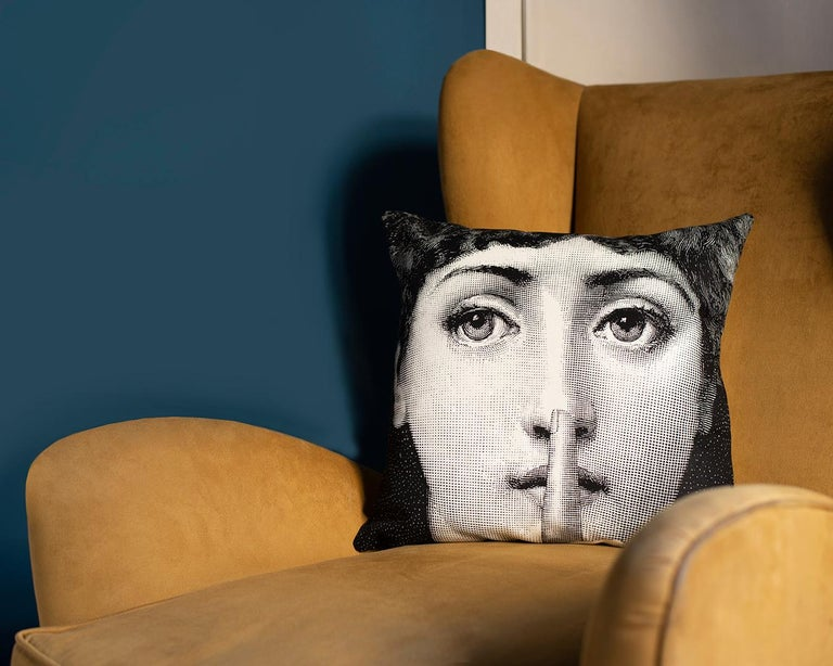 Modern Fornasetti Cushion Silenzio from the Series Tema e Variazioni Cotton For Sale
