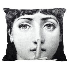 Fornasetti Cushion Silenzio from the Series Tema e Variazioni Cotton