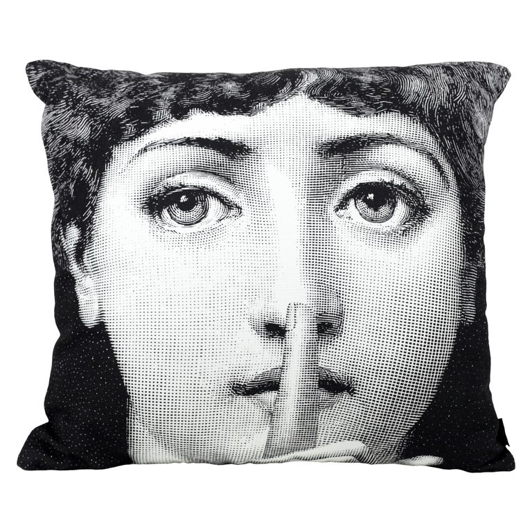 Fornasetti Cushion Silenzio from the Series Tema e Variazioni Cotton For Sale