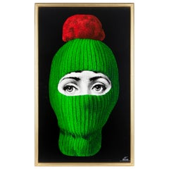 Fornasetti Decorative Panel Lux Gstaad Green/Pon Pon Red Hand Painted Wood