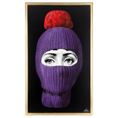Fornasetti Decorative Panel Lux Gstaad Hand Painted Purple/Pon Pon Red Wood