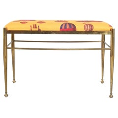Fornasetti Fabric Brass Bench Montgolfière Balloon, Italy, 1950