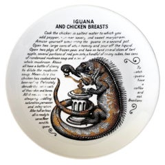 """Fornasetti for Fleming Joffe """"Iguana and Chicken Breasts"""" Recipe Plate, 1960s"""