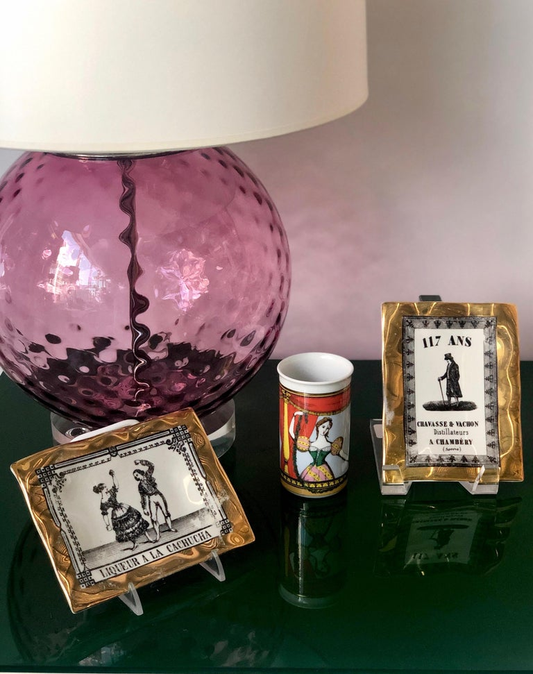 Fornasetti Italian White Porcelain with Gold Leaf and Black Accent Pin Tray For Sale 13