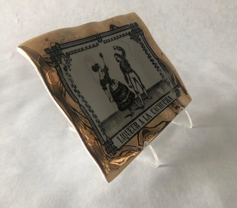Mid-Century Modern Fornasetti Italian White Porcelain with Gold Leaf and Black Accent Pin Tray For Sale