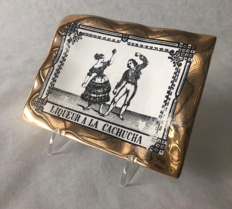 Fornasetti Italian White Porcelain with Gold Leaf and Black Accent Pin Tray For Sale 1