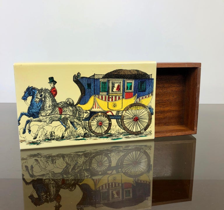 Italian Fornasetti Mid-Century Modern Card Box, 1950s, Metal and Wood, Italy For Sale