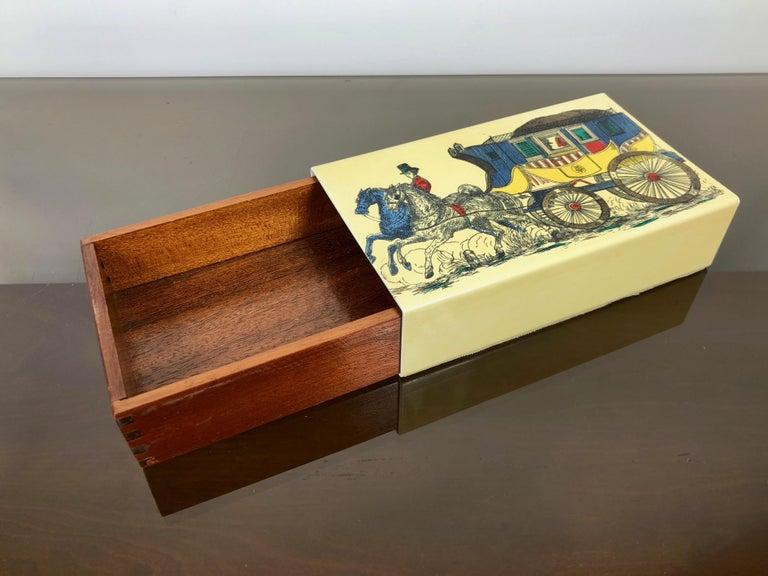 Fornasetti Mid-Century Modern Card Box, 1950s, Metal and Wood, Italy In Good Condition For Sale In Rome, IT