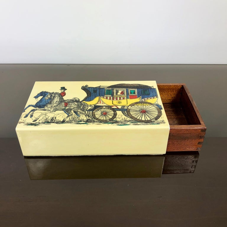 Mid-20th Century Fornasetti Mid-Century Modern Card Box, 1950s, Metal and Wood, Italy For Sale