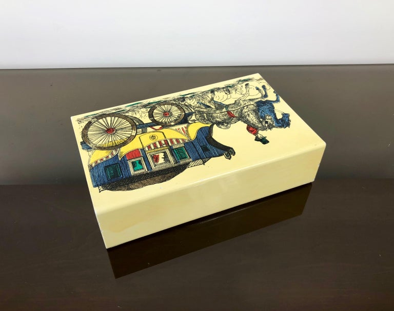Fornasetti Mid-Century Modern Card Box, 1950s, Metal and Wood, Italy For Sale 1