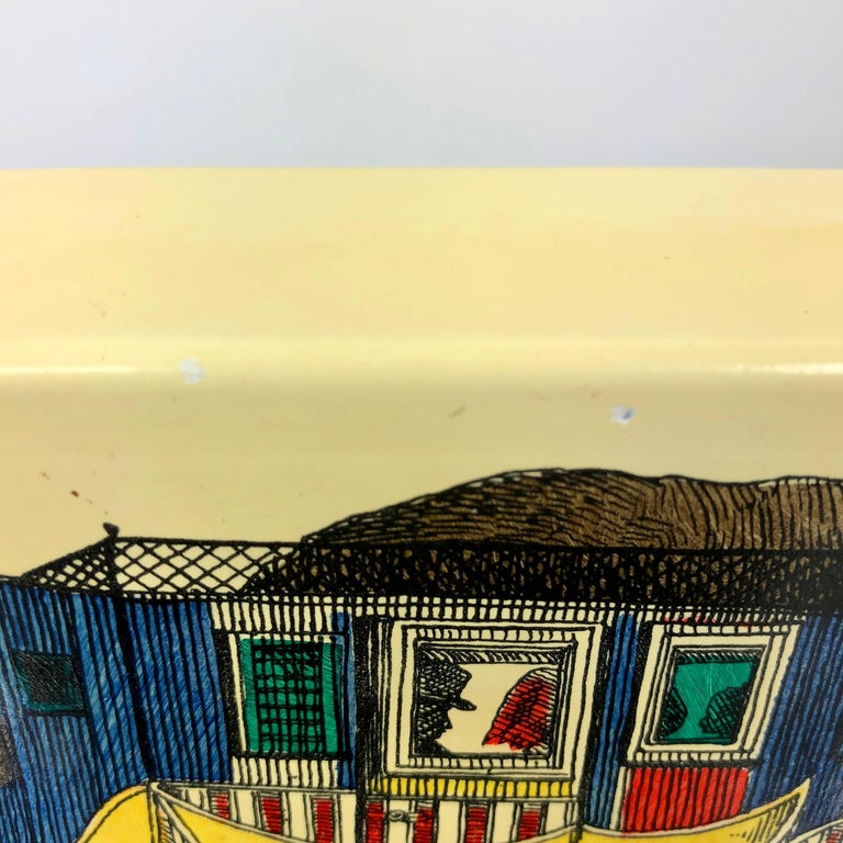 Fornasetti Mid-Century Modern Card Box, 1950s, Metal and Wood, Italy For Sale 2
