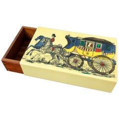 Fornasetti Mid-Century Modern Card Box, 1950s, Metal and Wood, Italy