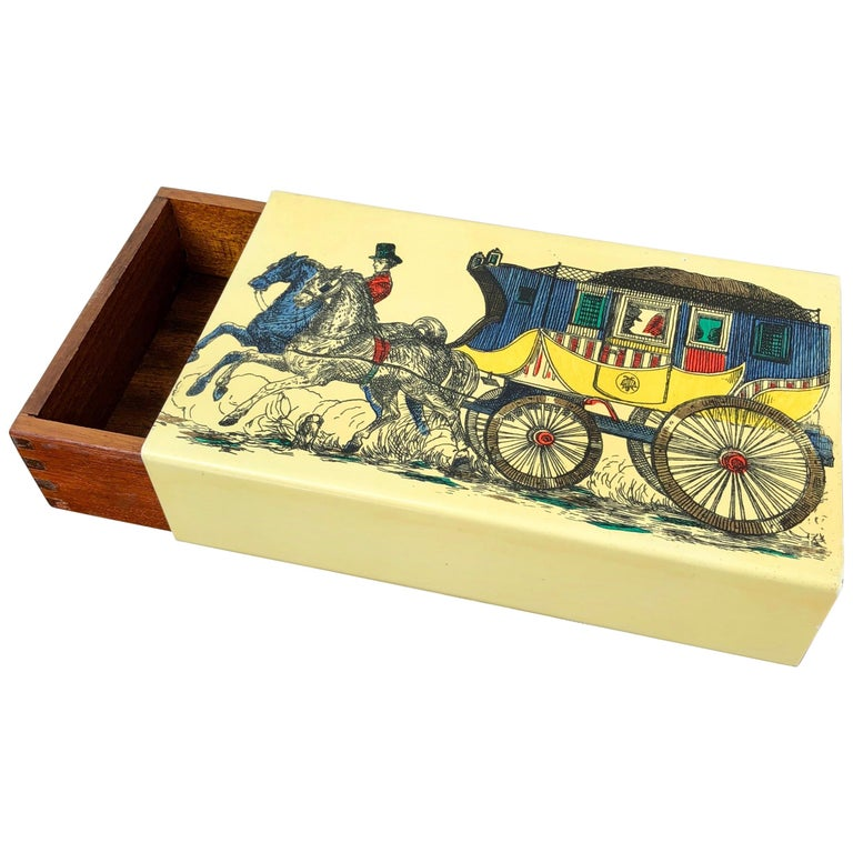 Fornasetti Mid-Century Modern Card Box, 1950s, Metal and Wood, Italy For Sale