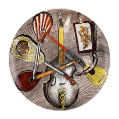 "Fornasetti, Milan Porcelain Dish, ""Instrumenti musicali"", Hand Painted"