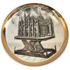 Fornasetti Milano Plate Porcelain 1960 Italy