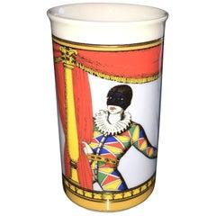 Fornasetti Orange, Blue, Yellow, Gold & Green Court Jester White Porcelain Vase