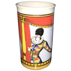 Fornasetti Orange, Blue, Yellow, Gold & Green Court Jester White Porcelain Vase