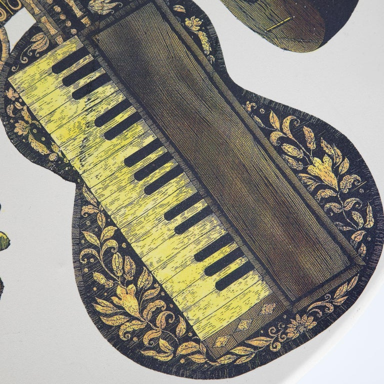 Mid-Century Modern Fornasetti Pair of Side Tables with Musical Instruments Motif, 1950s, 'Signed' For Sale