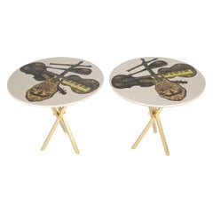 Fornasetti Pair of Side Tables with Musical Instruments Motif, 1950s, 'Signed'