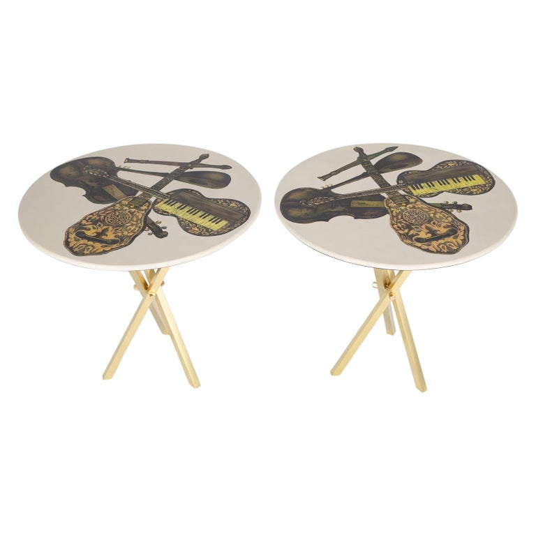 Fornasetti Pair of Side Tables with Musical Instruments Motif, 1950s, 'Signed' For Sale