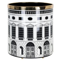 Fornasetti Paper Basket Architettura Black and White Handcrafted Metal Brass