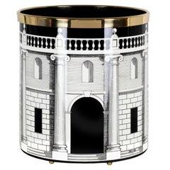 Fornasetti Paper Basket Casa Con Colonne Architectural Motif Black and White