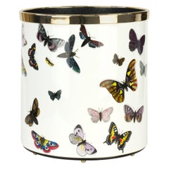 Fornasetti Paper Basket Farfalle Butterflies Hand Colored on White Metal Brass