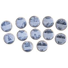 Fornasetti Piemontesi Plates Set of 12, Italy, 1950s