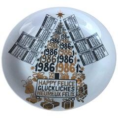 """Fornasetti """"Plate Calendar n 19"""" Porcelain, 1986, Italy"""