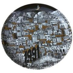 """Fornasetti """"Plate Calendar n24"""" Porcelain, 1991, Italy"""