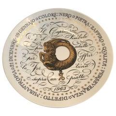 Fornasetti Plate Capricorn Zodiac Sign Porcelain, 1963, Italy