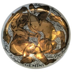 Fornasetti Plate Gemini Zodiac Porcelain, 1973, Italy