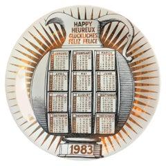 "Fornasetti ""Plate n.16 Calendario "" Porcelain 1983 Italy"
