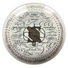 Fornasetti Plate Pisces Zodiac Sign Porcelain, 1965, Italy