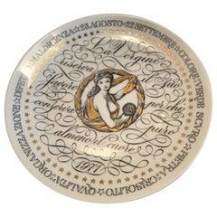 Fornasetti Plate Virgo Zodiac Sign Porcelain 1971 Italy