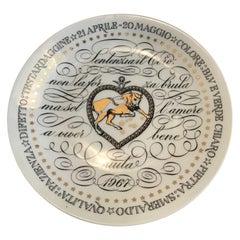 Fornasetti Plate Zodiac Bull 1967 Porcelain, Italy