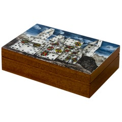 Fornasetti Playing Cards Box Città di Carte Surreal Landscape Hand Color Wood