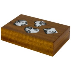 Fornasetti Playing Cards Box Visi from the Tema e Variazioni Series Wood
