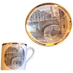 """Fornasetti Porcelain Coffee Cup 1950 """"Ponte Di Via Olona"""" Milano"""
