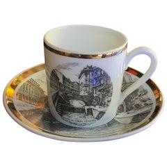 "Fornasetti Porcelain Cup of Coffee Gold ""Ponte Corso Venezia"", 1950"