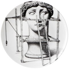 """Fornasetti Porcelain """"Themes and Variations"""" Plate No 200, Italy, circa 1990"""