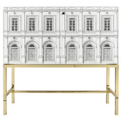 Fornasetti Raised Sideboard Cabinet Architettura Black and White Brass Base