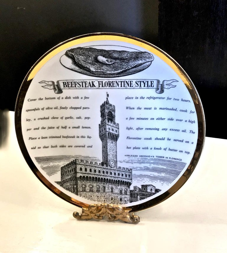 Fornasetti Recipe Plates, Set of Eight In Good Condition For Sale In Pasadena, CA