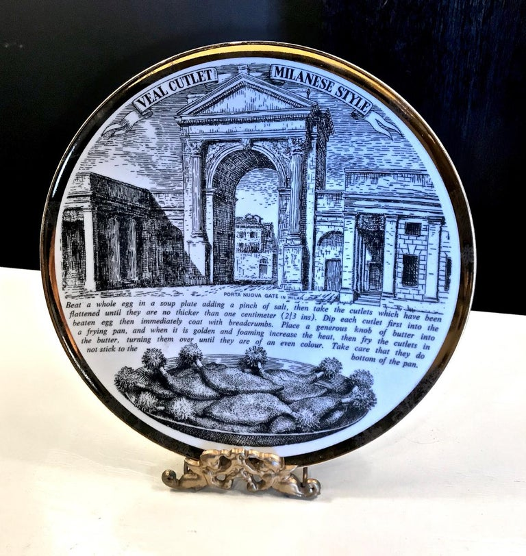 Late 20th Century Fornasetti Recipe Plates, Set of Eight For Sale