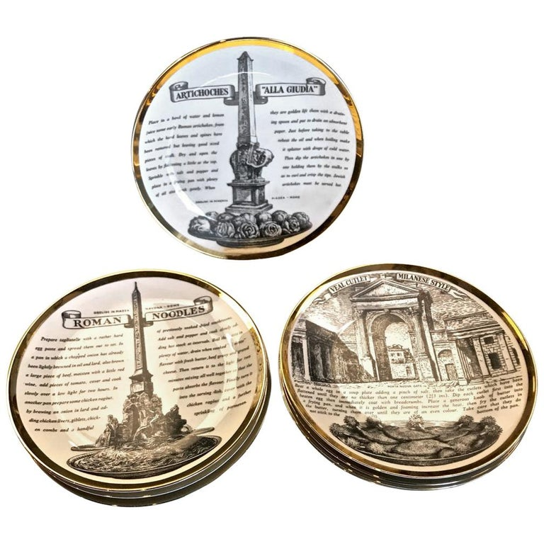 Fornasetti Recipe Plates, Set of Eight For Sale