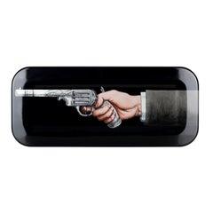 Fornasetti Rectangular Tray Braccio Con Pistola on Black Wood