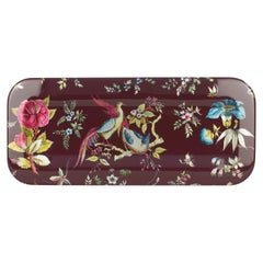 Fornasetti Rectangular Tray Coromandel Silver Leaf on Carmine Red